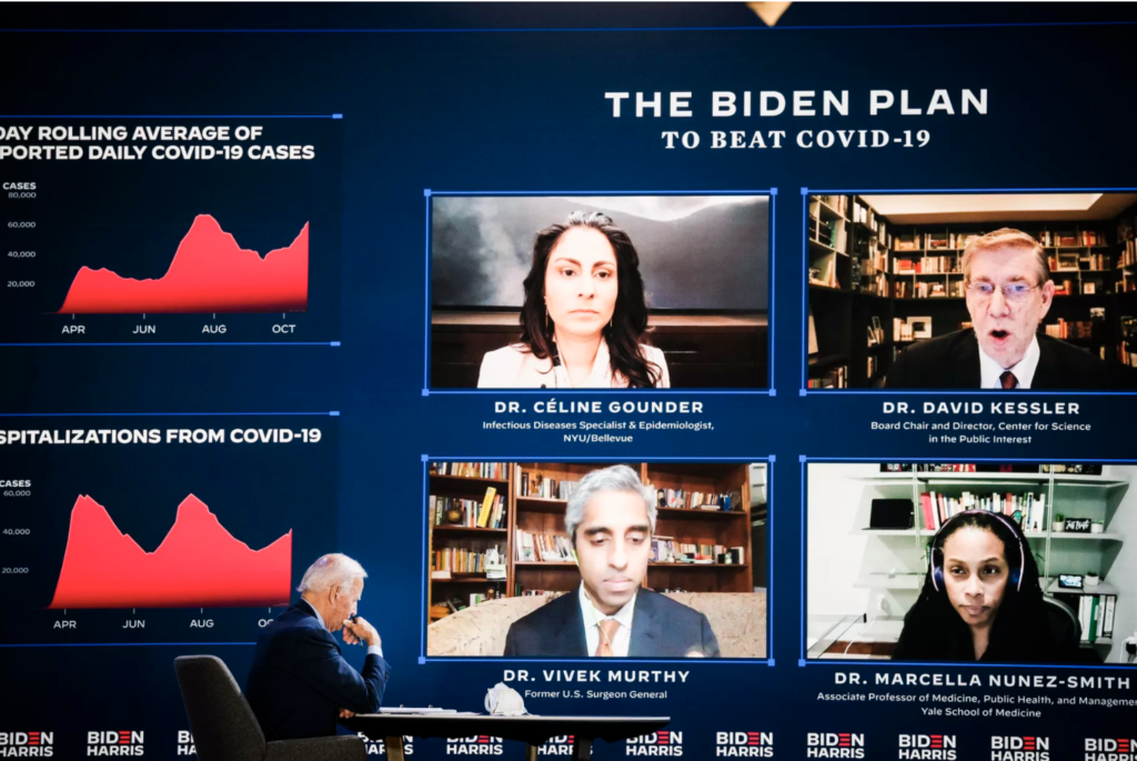 President-elect Joe Biden hosts a coronavirus briefing in Wilmington, Delaware, on October 28. Drew Angerer/Getty Images